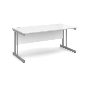 Momento Straight Desk 1600mm X 800mm - Silver Cantilever Frame, Walnut Top