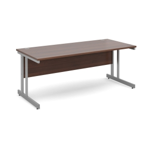 Momento Straight Desk 1800mm X 800mm - Silver Cantilever Frame, Walnut Top