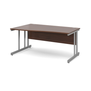 Momento Left Hand Wave Desk 1600mm - Silver Cantilever Frame, Walnut Top