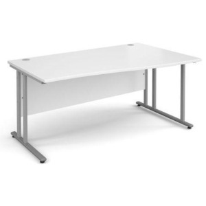 Momento Right Hand Wave Desk 1400mm - Silver Cantilever Frame, White Top