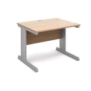 Vivo Straight Desk 1000mm X 800mm - Silver Frame, Beech Top