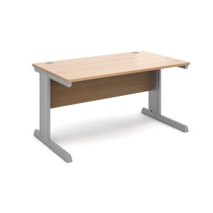 Vivo Straight Desk 1400mm X 800mm - Silver Frame, Beech Top