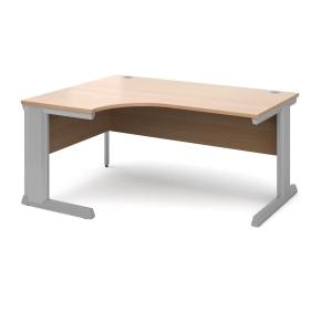 Vivo Left Hand Ergonomic Desk 1600mm - Silver Frame, Beech Top