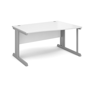 Vivo Right Hand Wave Desk 1400mm - Silver Frame, White Top