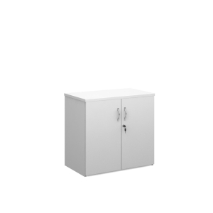 UNIVERSAL DOUBLE DOOR CUPBOARD 1090MM HIGH WITH 2 SHELVES - WHITE