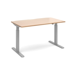 ELEV8 MONO STRAIGHT SIT-STAND DESK 1400MM X 800MM - SILVER FRAME, BEECH TOP