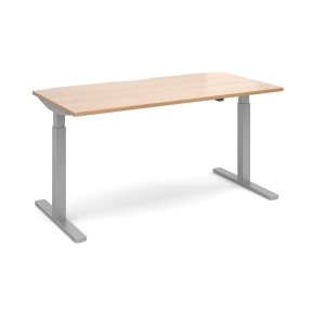 ELEV8 MONO STRAIGHT SIT-STAND DESK 1600MM X 800MM - SILVER FRAME, BEECH TOP