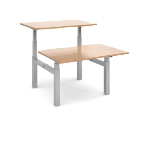 SIT-STAND DBLE TOP DESK 1200X800MM BEECH