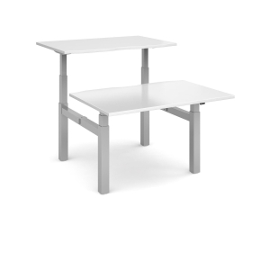 SIT-STAND DBLE TOP DESK 1400X800MM WH