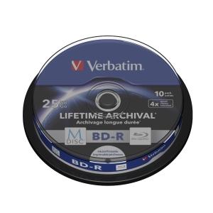 VERBATIM MDISC BD-R 4X SPINDLE 25GB - PACK OF 10