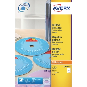 AVERY L7676-25 FULL FACE CD LASER LABELS MONO 117MM DIAMETER - PACK OF 25