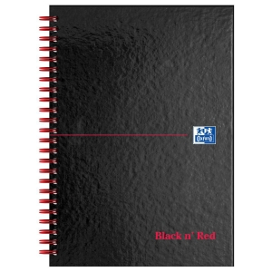 BLACK N  RED WIRE BOUND NOTEBOOK A5