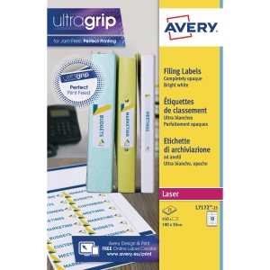 Avery L7172-25 Filing labels, 100 x 30 mm, Permanent, 18 Labels Per Sheet