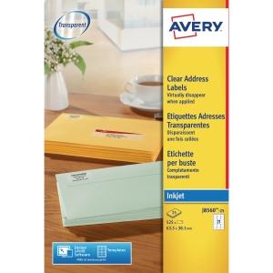 BOX OF 525 AVERYJ8560-25 INKJET LABELS 63.5x38.1