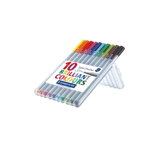Staedtler 334 Triplus Assorted Colour Fineliner - Wallet of 10