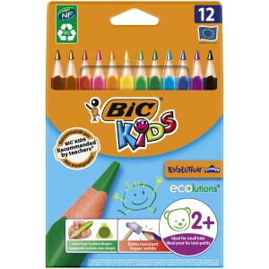 Bic Kids Evolution Triangle Colouring Pencils Assorted - Pack Of 12