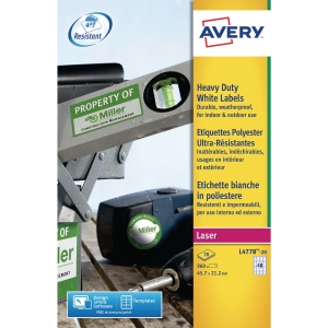 Avery L4778-20 Resistant Labels, 45.7 x 21.1 mm, 48 Labels Per Sheet