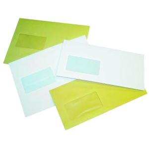 LYRECO WHITE DL MAILING ENVELOPES GUMMED WINDOW 90GSM - BOX OF 1000