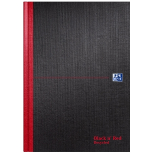 Oxford Blk n  Red A4 Hardback Casebound Notebook Ruled 192 Pages Recycled Black