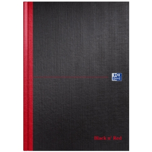 BLACK N  RED NOTEBOOK HARDBACK RULED A4