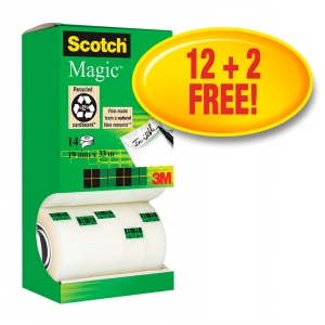 Scotch Magic Tape Tower Pack 19mm X 33M - Pack of 14 - Pay For 12 Get 2 Free