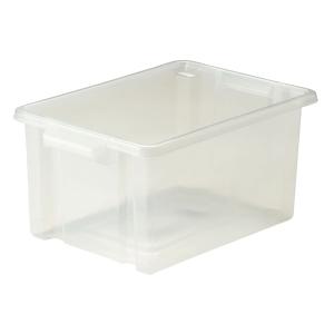 Strata Clear Midi Plastic Storage Crate L360 X W270 X H190mm