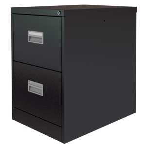 Silverline Black 2-Drawer Filing Cabinet H711mm X W458mm X D622mm