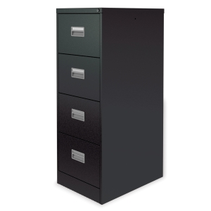 SILVERLINE BLACK 4-DRAWER FILING CABINET H1320MM X W458MM X D622MM