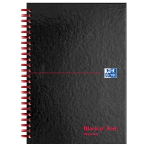 Black n  Red A5 Glossy Hardback Wirebound Notebook Ruled 140 Page Recycled
