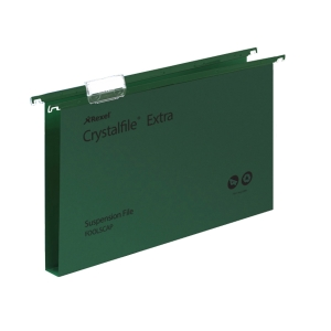 REXEL CRYSTALFILE GREEN FOOLSCAP PP SUSPENSION FILES 30MM BASE - BOX OF 25