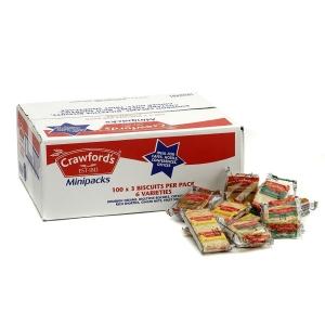 Crawfords Minipacks - Box of 100 Packs of 3 Biscuits