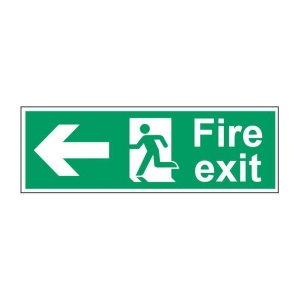 FIRE EXIT LEFT SIGN 450 X 150MM VINYL