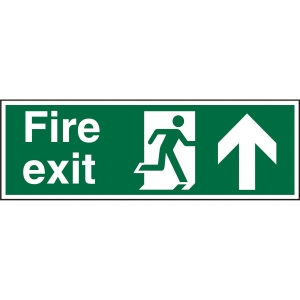 FIRE EXIT UP SIGN 450 X 150MM VINYL
