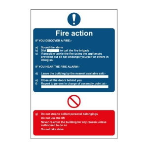 FIRE ACTION SIGN A4 PP