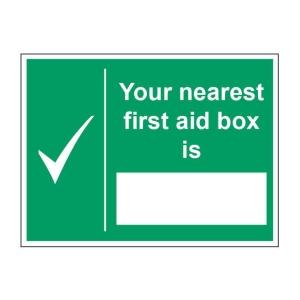 NEAREST FIRST AID BOX SIGN 200 X 150MM VINYL