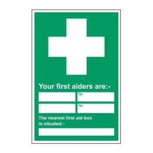 FIRST AID LOCATION SIGN 450 X 600MM VINYL