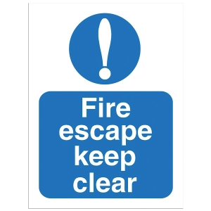Fire Escape Keep Clear Sign 150 X 200mm Vinyl