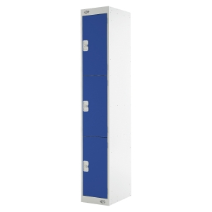 LOCKER 1800H x 300W x 300D, 3-DOOR, BLUE