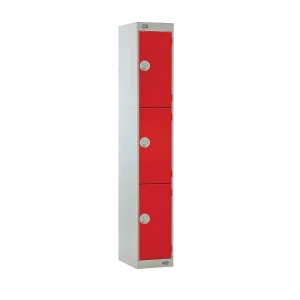 LOCKER 1800H x 300W x 450D, 3-DOOR, red