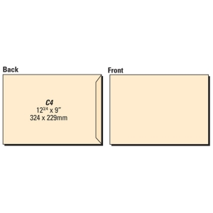 LYRECO manilla C4 GUMMED PLAIN ENVELOPES 80GSM - BOX OF 250