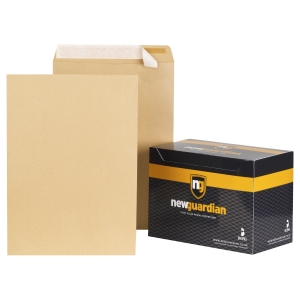 NEW GUARDIAN manilla C3 PEEL AND SEAL PLAIN ENVELOPES 130GSM - BOX OF 125
