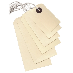 STRING TAGS 95 X 48MM WITH 9INCH WHITE STRING - BOX OF 1000