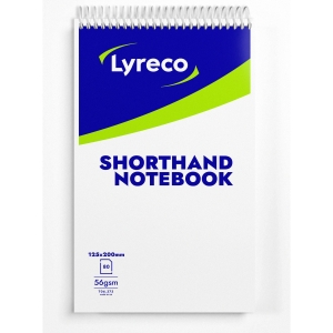 LYRECO WHITE 8 X 5INCH SHORTHAND NOTEBOOKS (RULED) - PACK OF 20 (20 X 80 SHEETS)