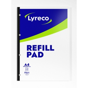 LYRECO WHITE A4 REFILL PADS (RULED/MARGIN) - PACK OF 5 (5 X 200 SHEETS)