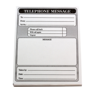 Telephone Message Pads 102 X 127mm - Pack Of 10 Pads (10 X 80 Sheets)