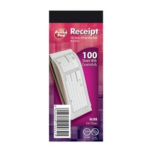 COUNTERFOIL RECEIPT BOOK 195 X 100MM - PACK OF 10 BOOKS (10 X 100 RECEIPTS)