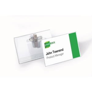 Durable Name Badge With Combi Clip 40X75mm Transparent - Pack of 50