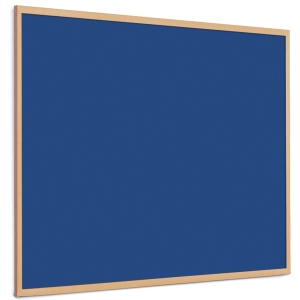 Quartet Oak Framed Felt Notice Board 900mm X 1200mm - Royal Blue