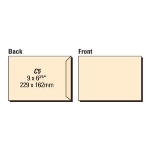 LYRECO manilla C5 GUMMED PLAIN ENVELOPES 80GSM - BOX OF 500