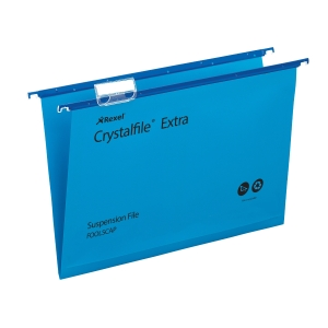 REXEL CRYSTALFILE BLUE FOOLSCAP PP SUSPENSION FILES V BASE - PACK OF 25